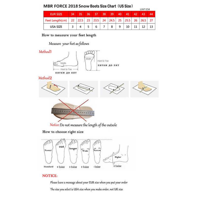 MBR kuvvet en kaliteli hakiki deri kar botları kadın su geçirmez yüksek kışlık botlar sıcak kadınlar uzun çizmeler siyah abd 3-13