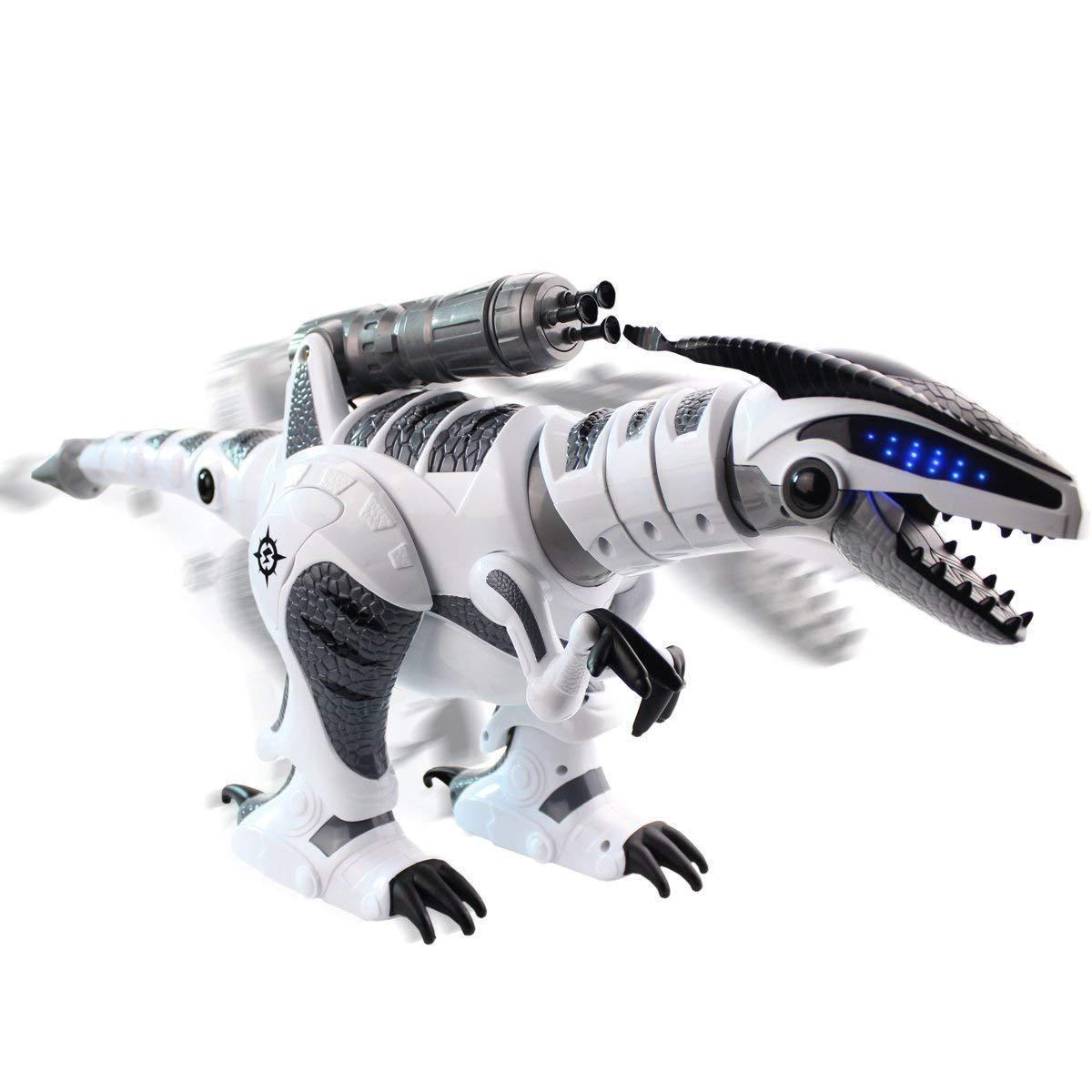 Dinosaure jouets RC Robot Intelligent interactif Intelligent marche danse chantant électronique animaux éducation enfants jouets blanc gris - 3