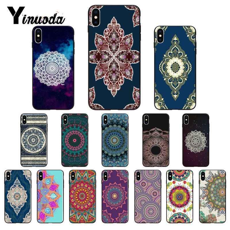 Yinuoda Blauw totem mandala bloem Custom Photo Soft Telefoon Case voor iPhone 6 S 6 plus 7 7 plus 8 8 Plus X Xs MAX 5 5 S XR