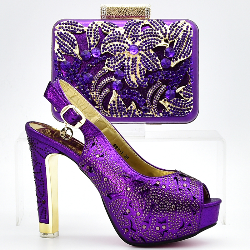 2018 New Design African Shoe And Bag Set For Party Italian Shoe With Matching Bag Matching Purple Shoe And Bag for Wedding Dress