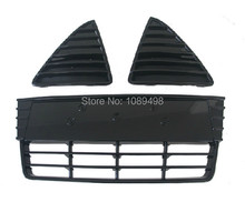 3 Pcs/Set Luxury Gloss Black Front Bumper Lower grilles +Triangle grill Kit for New Ford Focus 2012-2014