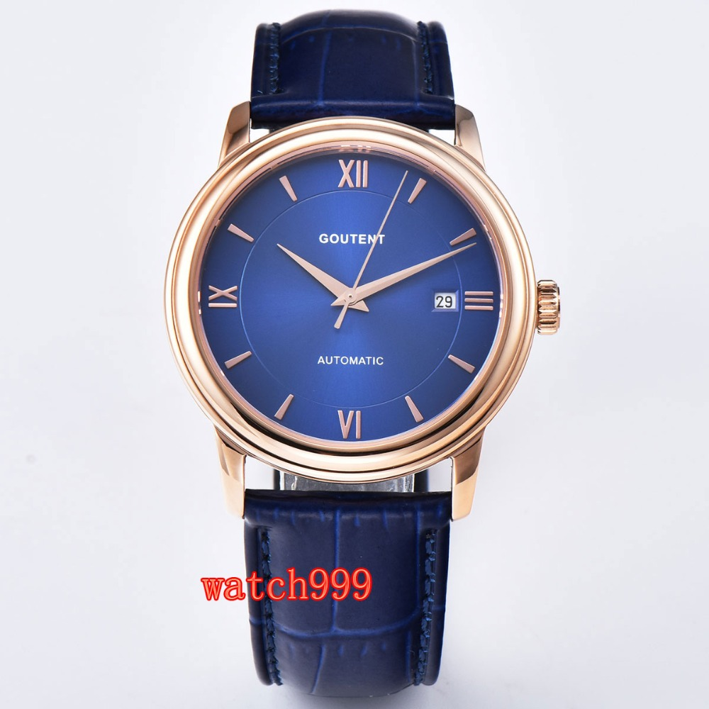 40mm Goutent men clock Rose gold Sapphire crystal Luminous Leather strap Miyota Automatic Mens Watch40mm Goutent men clock Rose gold Sapphire crystal Luminous Leather strap Miyota Automatic Mens Watch