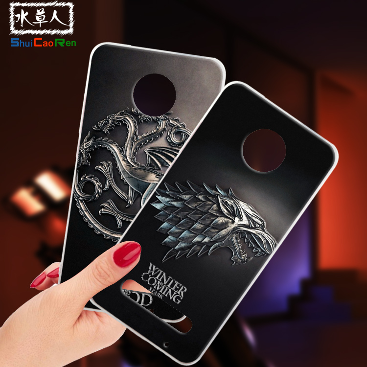 ShuiCaoRen Silicone Cases For Motorola Z2 Play Case Game of Thrones Black Shell For Moto Z2 Play Cover