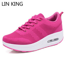 Купить с кэшбэком LIN KING Breathable Air Mesh Women Ankle Swing Shoes Lace Up Casual Sneakers Wedges Height Increase Platform Shoes For Female