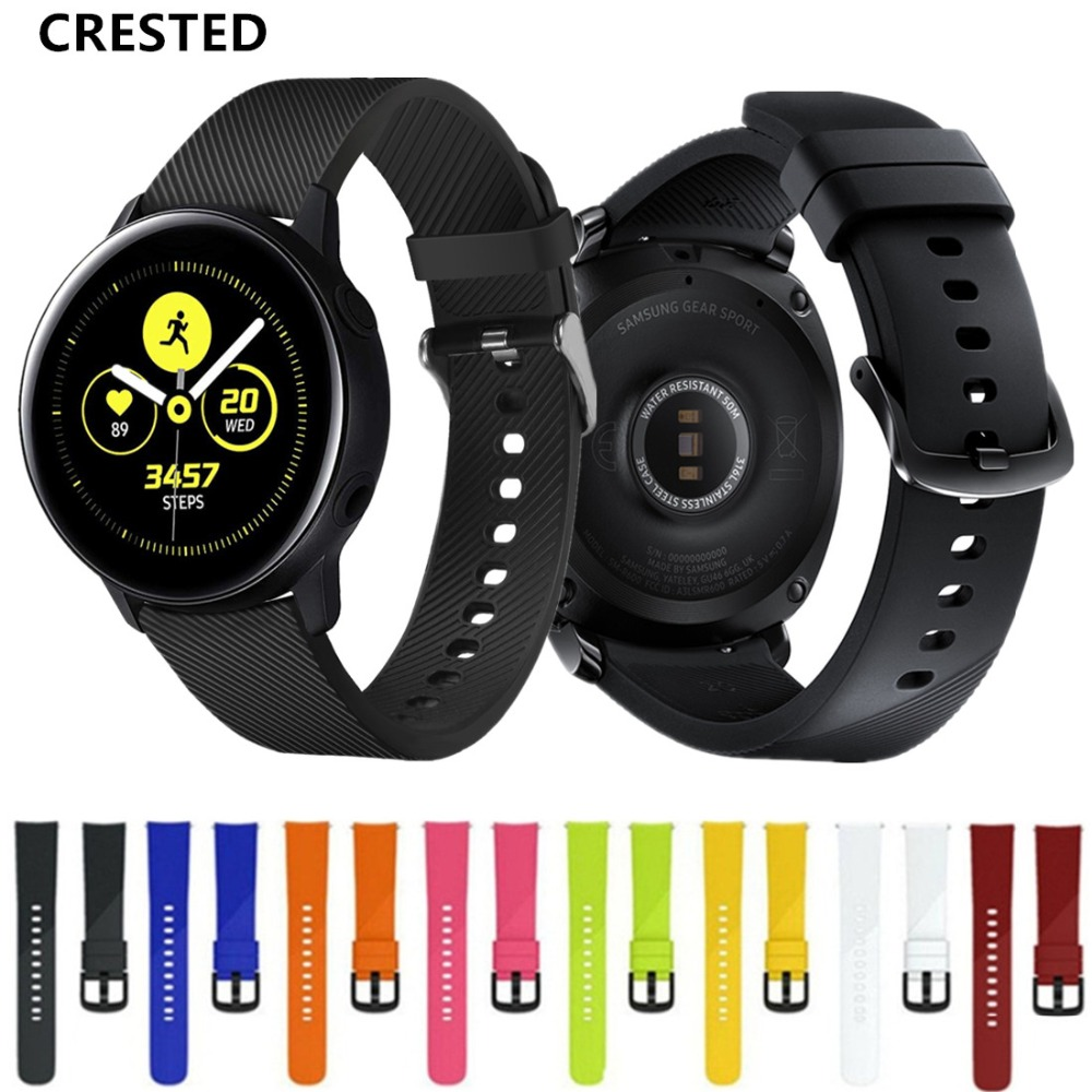 CRESTED amazfit bip strap For Samsung Galaxy watch active/42mm Gear Sport band  20mm watch band correa pulseira bracelet beltCRESTED amazfit bip strap For Samsung Galaxy watch active/42mm Gear Sport band  20mm watch band correa pulseira bracelet belt