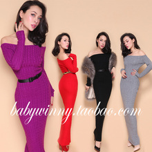 2016 New Spring High Quality Special Offer Vintage Classic All Match Candy Colored Slim Strapless Knitted Dress Women Clothing