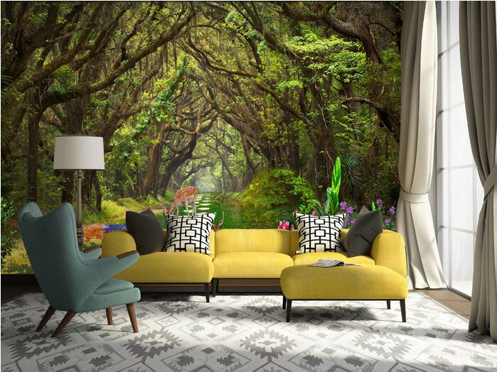 3d room wallpaper custom mural non-woven wall sticker Beautiful flowers forest  wall painting photo wallpaper for walls 3 d 3d room wallpaer custom mural non woven photo natural scenery forest trees painting 3d wall murals wallpaper for walls 3d