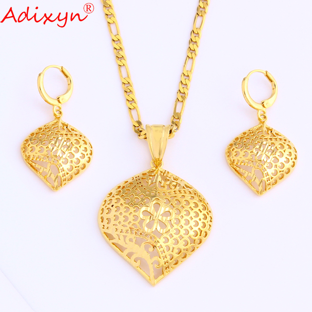 Adixyn Duabi Necklace&Earring&Pendant Gold Color Ethnic Hollow Jewelry Sets For Women Wedding Gifts N08239
