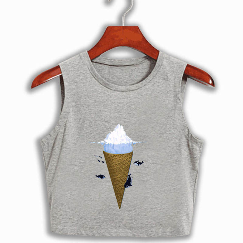 Icecream under Fish Sexy Letters Prints T Shirt 2017 Summer Casual Ladies Short Sleeve O Neck Crop Top Tees Cotton White T-Shirt