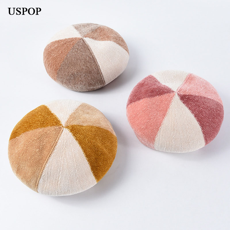 USPOP 2019 Autumn winter hats women berets patchwork Chenille beret fashion female soft warm
