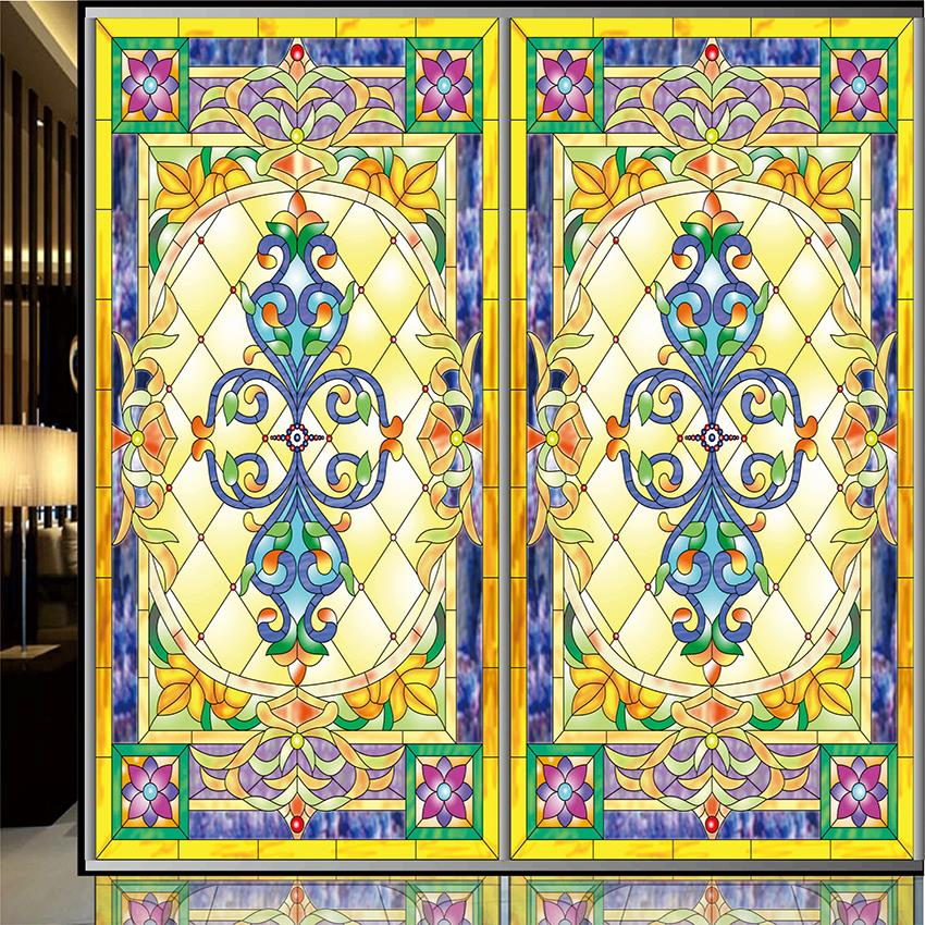 Window film Continental retro stained glass stickers electrostatic painting art church frosted doors wardrobe furniture