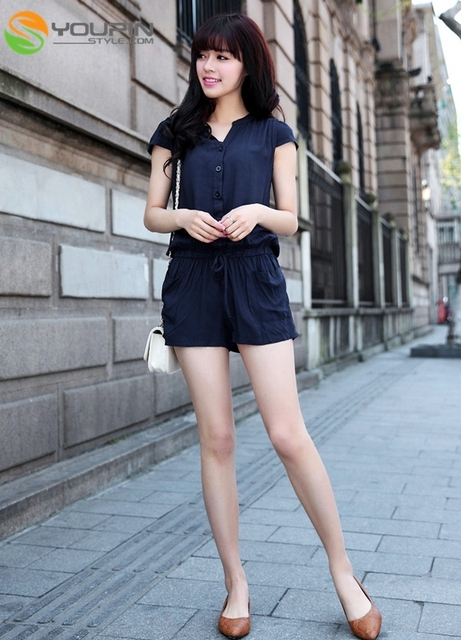 New Fashion Sweet Women Short Sleeve Strapless Navy Blue Jumpsuit