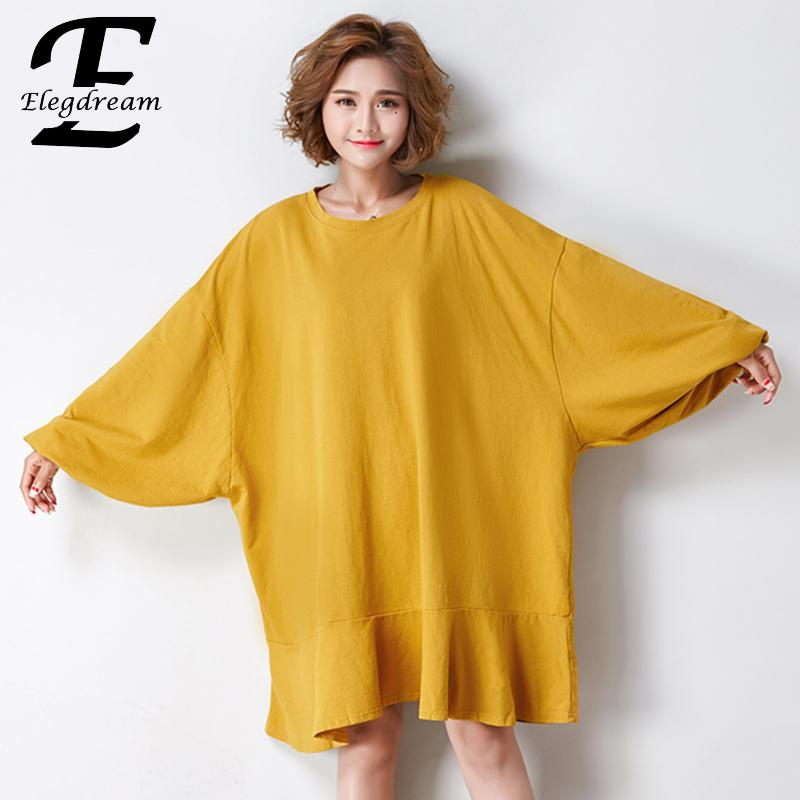 Elegdream Brand Oversized Clothing Plus Size Women Hoodies Ladies Casual Loose Tops Tees Female Long Sweatshirt Tunics Vestidos