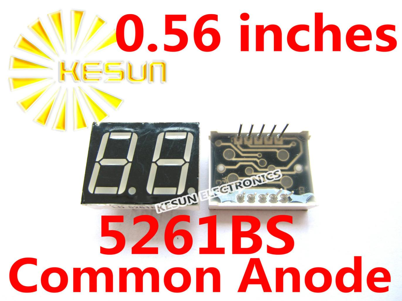 Free Shipping 20PCS X 0.56 Inches Red Blue Jade Green 2 Digital Tube 5261BS 5261AS 5261AB 5261BB 5261AGG LED Display Module