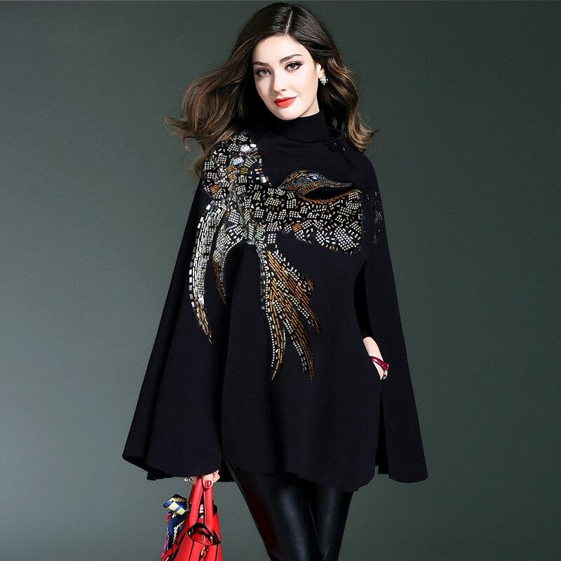 Women Stylish Knitted Cloak Coat Cape Jacket Loose Thick Bat shaped Sweater Ponchos