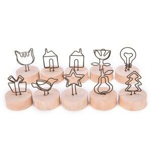 MENGXIANG 9 estilos Naturais Pinça do Memorando de Madeira Miniaturas de Estatuetas De Madeira Pequenos Grampos Clipes Stand Ornamento Home Decor