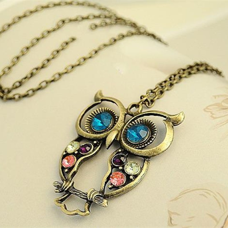 XS009-Vintage-Cute-Owl-Carved-Hollow-Chain-Necklaces-Pendants-Fashion-Jewelry-Wholesales