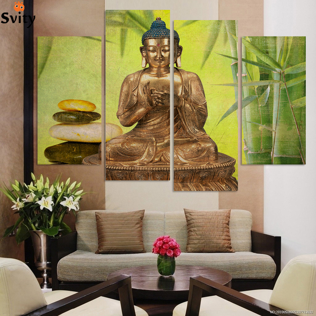 Free Shipping Large Size Buddha Canvas Painting For Interior Room  Decoration Bamboo And Stone (unframed