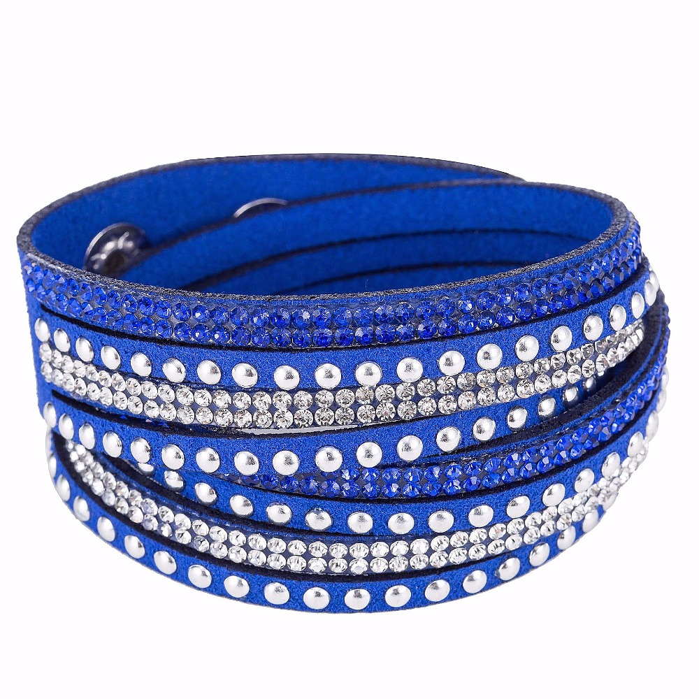 HOCOLE Wrap Bracelet For Women Leather Crystal Brac