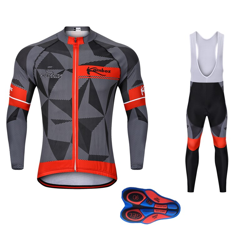 2018 New Winter Thermal Fleece Cycling Jersey Long Bib Set Men Mountain Bike Clothes Long Ropa Ciclismo 9D Pad Cycling Clothing 2018 new arrival winter cycling clothing thermal fleece cycling jersey long sleeve mtb ropa ciclismo hombre bike cycling clothes