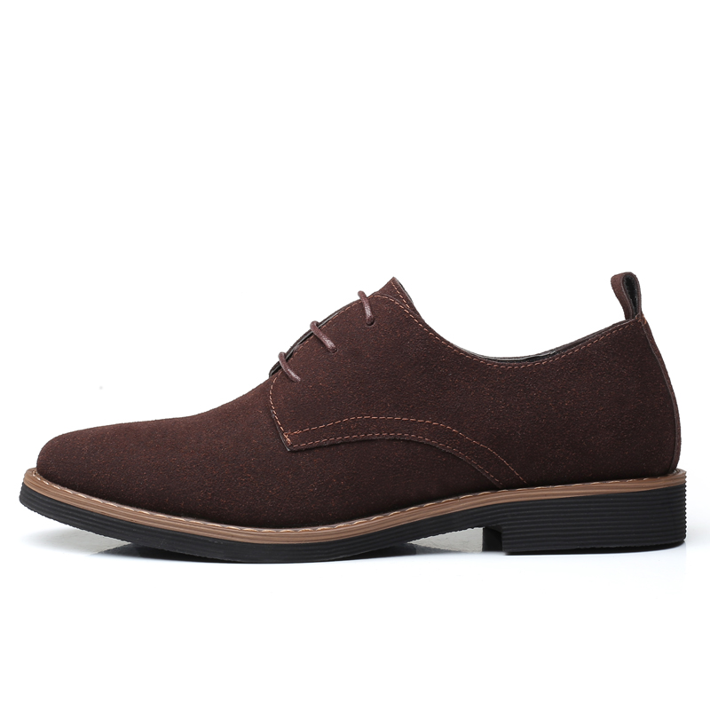 High Quality Suede Leather Soft Shoes Men Loafers Oxfords Casual Male Formal Shoes Spring Lace-Up Style Men's Shoes