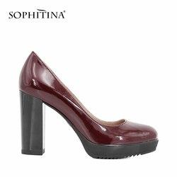 SOPHITINA-zapatos de tacón cuadrado y plataforma para mujer, calzado Sexy de piel auténtica, hecho a mano, clásico, para fiesta de boda y oficina, D04