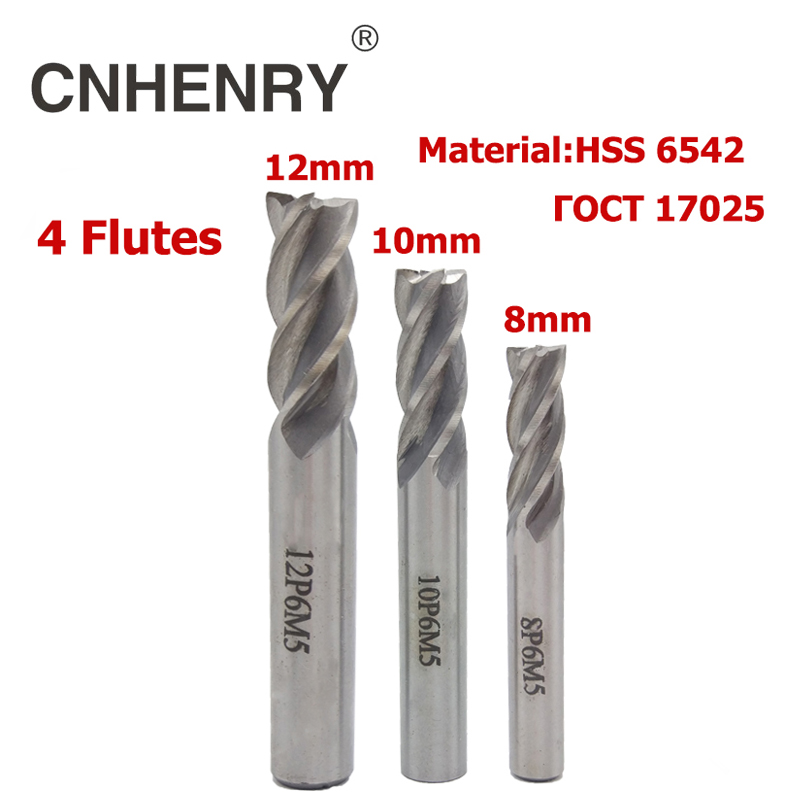 4 Flutes HSS 6542 End Mill Diameter 8-12mm Router Bit CNC Milling Cutter for Wood End Mill Cutter Drill Bit Diagnostic-tool