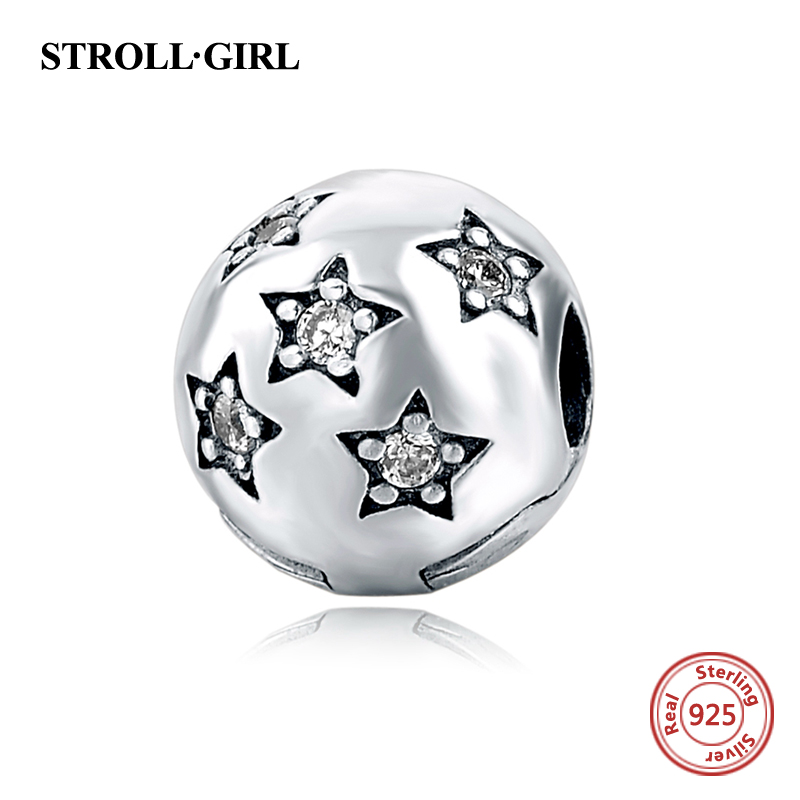 Fit Authentic pandora Bracelets Original 925 Sterling Silver Star Clip Safety Stopper Charms Beads Fashion Jewelry Making Gifts