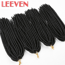Leeven 14inch 24strands Dreadlock Extentions Soft Crochet Braid Synthetic Braiding Hair Black Dread Hair Faux Locs Kanekalon(China)