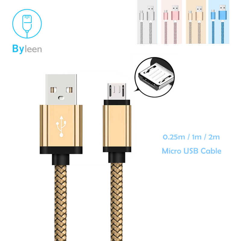 Byleen 25 سنتيمتر/قصيرة/100 سنتيمتر/200 سنتيمتر طويل USB 2.0 المصغّر USB شحن خط شاحن للهاتف الذكي 0.25/1/2 متر V8 أندرويد المنسوجة خط