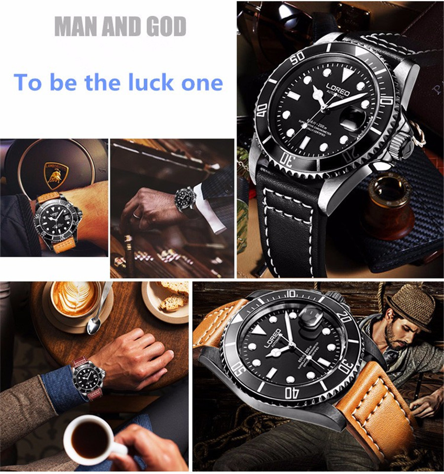 HTB17YJma3aH3KVjSZFpq6zhKpXa7 New LOREO Water Ghost Series Classic Blue Dial Luxury Men Automatic Watches Stainless Steel 200m Waterproof Mechanical Watch