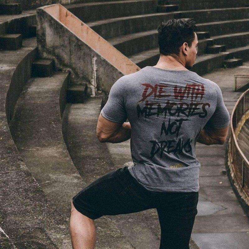 YEMEKE New Men Short Sleeve Cotton t-shirt Summer Casual Fashion Gyms Fitness Bodybuilding T shirt Male Slim Tees Tops Clothing 1