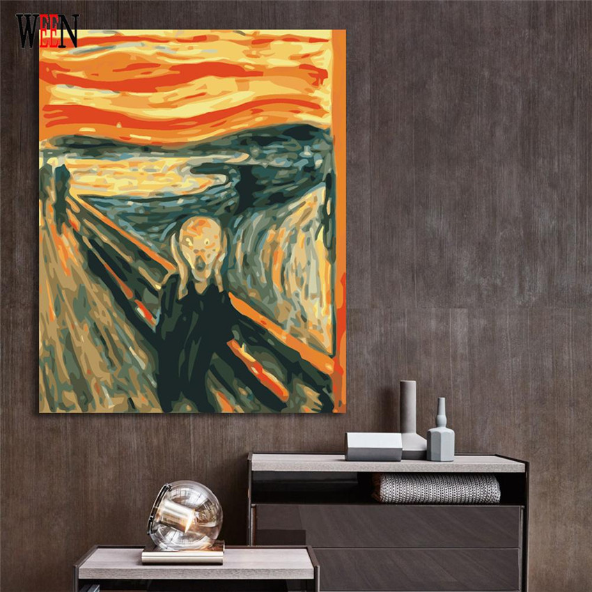 WEEN Shouting Pictures Painting By numbers DIY Hand Painted Digital Abstract Landscape On Wall Acrylic Coloring By Numbers 2017 in Painting Calligraphy from Home Garden