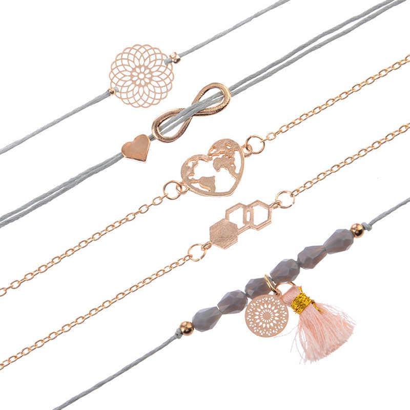 5 adet/takım Boho kadınlar gri ip boncuk çiçekler kalp haritası dijital geometri püskül kolye altın zincir bilezik seti sevgilisi hediye