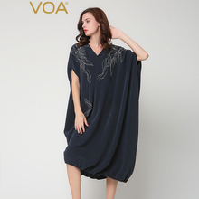 VOA 2017 Autumn Plus Size Loose Heavy Silk Robes Dress Navy Blue V-neck Embroidery Bat Sleeve Irregular Casual Dress A6235