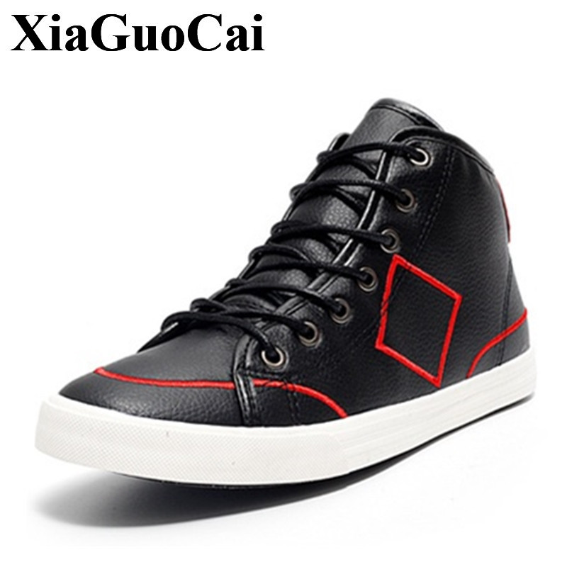 Fashion High Top Lace-up Flats Shoes Men Causal Shoes Skate England Classics Round Toe Solid All-match Leisure Shoes H427 35