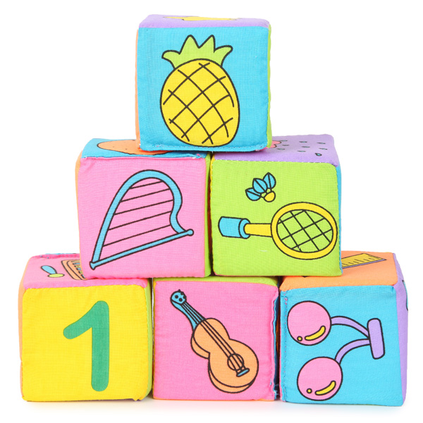 Infant Baby Kids 7cm Cloth Building Blocks Educational Rattles Set Toys