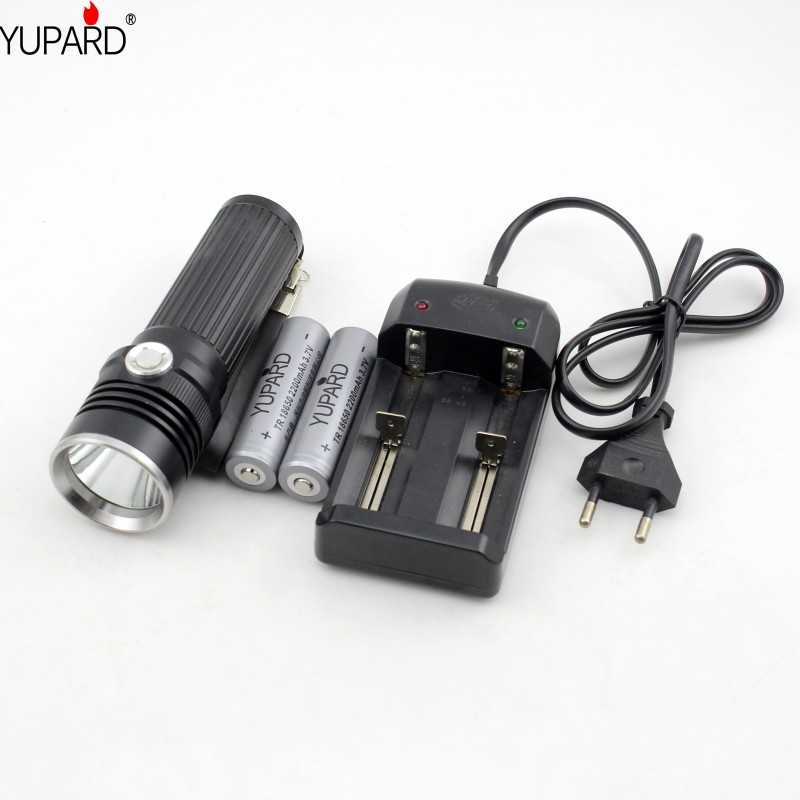 YUPARD  XM-L L2  T6 LED high power Flashlight torch lamp 1*18650 26650 rechargeable battery+2*2200mAh 18650 Battery+Charger alonefire x160 cree xm l2 led flashlight high power lighting flashlight torch with 26650 battery charger