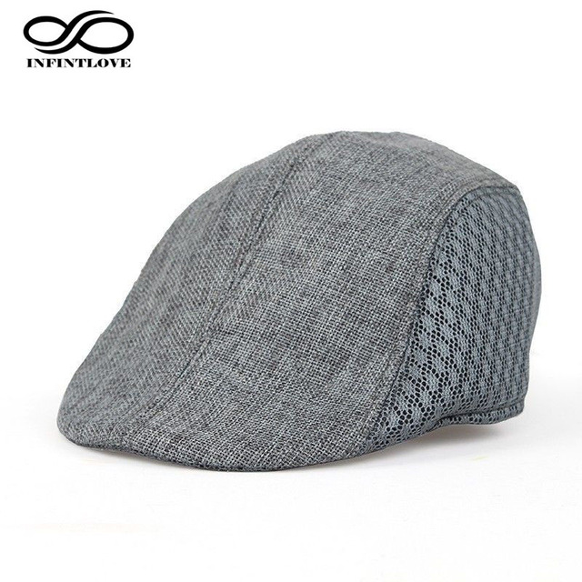 7560f1cf07 US $4.74 5% OFF|INFINITLOVE Vintage Men Women Solid Gangster Gatsby  Traveling Cap Driving Sun Cabbie Newsboy Mesh Beret Hat (One Size:57cm)-in  Newsboy ...