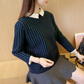 Korean 9a11c loose white collar striped sweater code female thick coat F1353
