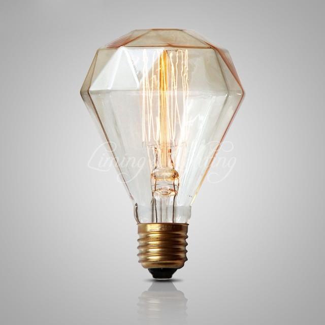 G95 Diamond Edison Bulb 40W 220v Antique Vintage Lamp Light Incandescent Bulb  Edison Light Fashion Incandescent