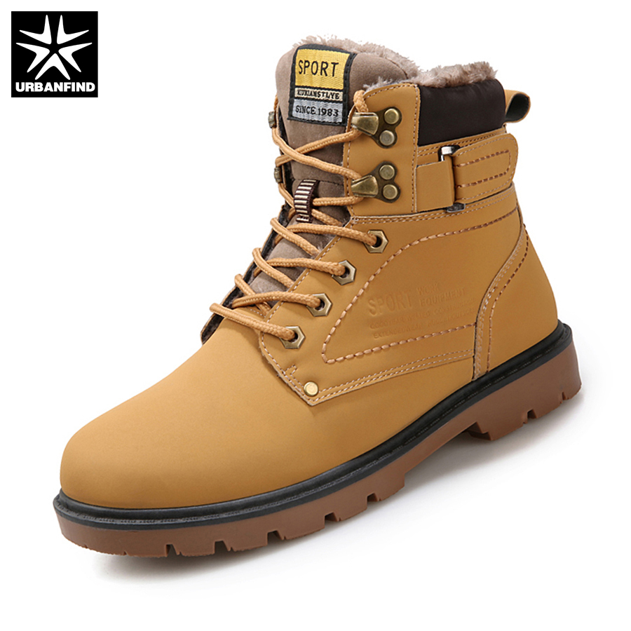 URBANFIND Autumn Winter Men Boots Big Size 39-46 Work Safety Man Boots 2 Styles Fur / Cotton Lining Rubber Snow Boots