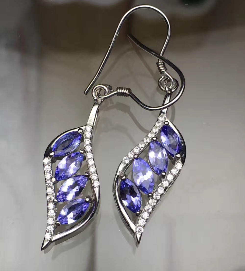 Fashion Natural Blue Tanzanite Drop Earrings Natural Gemstone Earrings  Luxury Elegant Leaves Willow 925 Silver Female Jewelry