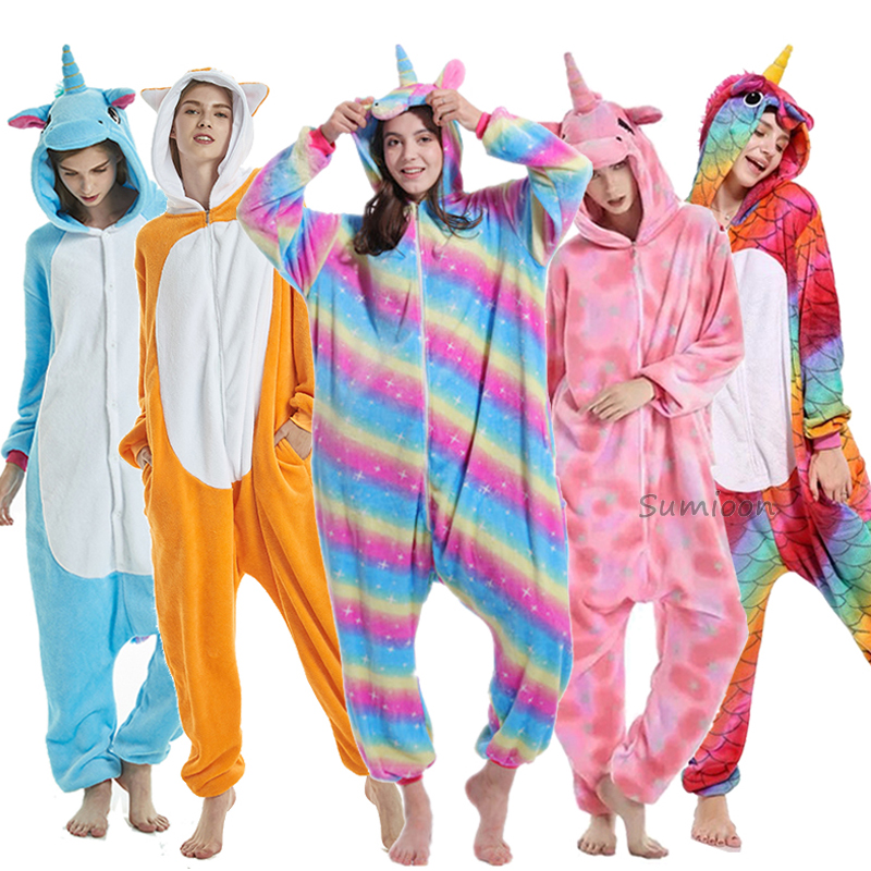Winter Kigurumi Pajamas Rainbow Unicorn Adults Women Animal Pajamas for Girls Costume Flannel Panda Stitch Onesie Sleepwear 2019(China)