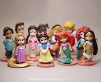 11pcs/set Tiana Merida Jasmine Princess Action Figures Snow White Mermaid princess Anime Figures Kids Toys For Girls Children