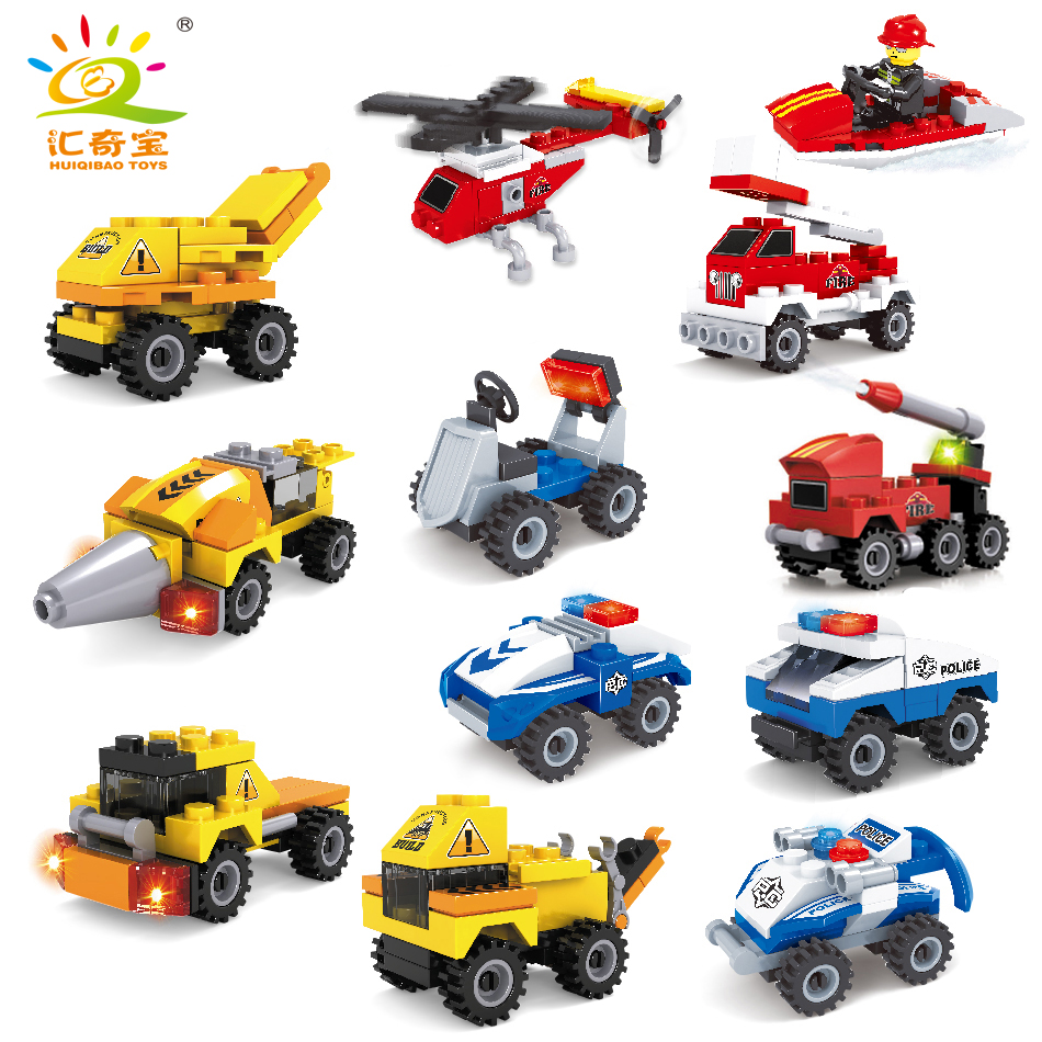 3 styles City Series Police Fire vehicle car excavator building blocks Compatible Legoed technic bricks sets toys for children