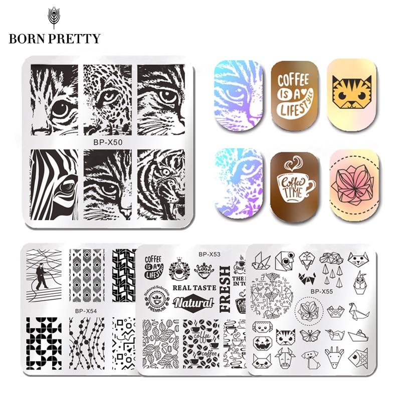 Geometric Reverse Stamping Nail Art Born Pretty Review: BORN PRETTY Square Nail Stamping Plate Geometry Stripes