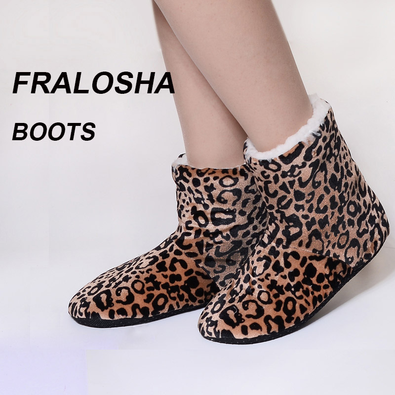 FRALOSHA women's leopard indoor shoes home indoor shoes non-slip soft home floor shoes women winter indoor soft plush boots цена