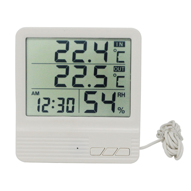 Digital Thermometer Hygrometer Weather Station Indoor Outdoor Electronic Temperature Humidity Meter Monitor Clock