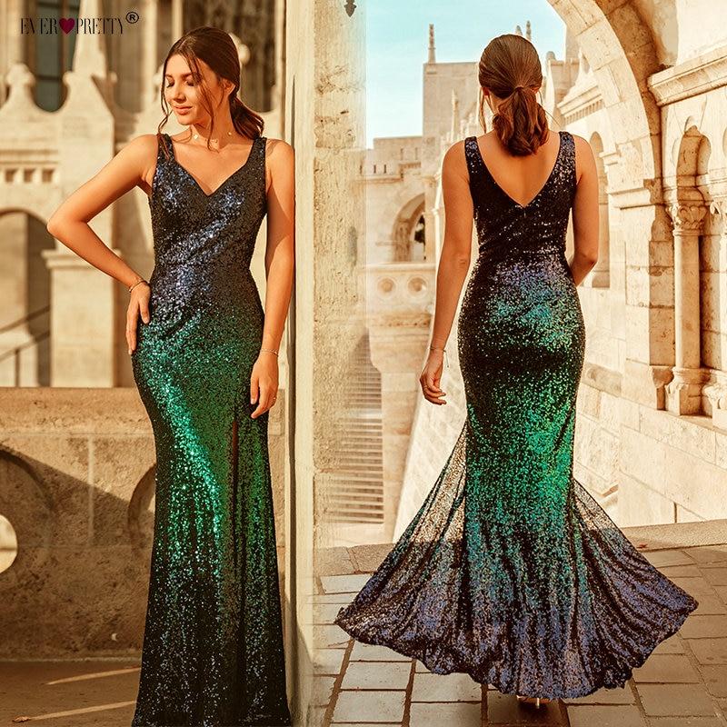 Gull lang kveldskjole Ever Pretty Back Cowl Neck EP07110GD Shine - Spesielle anledninger kjoler - Bilde 2